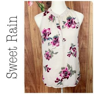 Sweet Rain- Pink Floral Dressy Tank Top- S